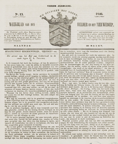 Weekblad van Den Helder en het Nieuwediep 1846-03-30
