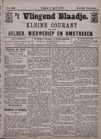 Vliegend blaadje : nieuws- en advertentiebode voor Den Helder 1879-04-04