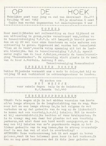 Op De Hoek, weekblad voor Akersloot 1962-05-18