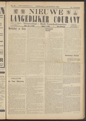 Nieuwe Langedijker Courant 1932-08-09