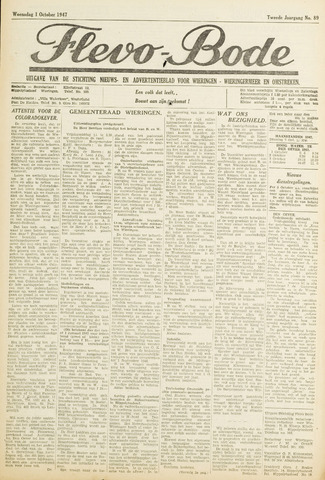 Flevo-bode: nieuwsblad voor Wieringen-Wieringermeer 1947-10-01