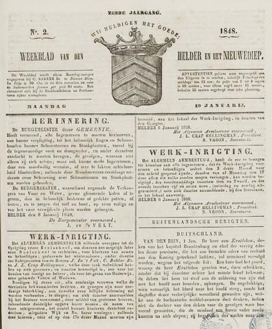 Weekblad van Den Helder en het Nieuwediep 1848-01-10