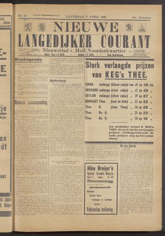 Nieuwe Langedijker Courant 1932-04-09