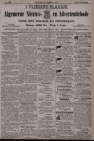 Vliegend blaadje : nieuws- en advertentiebode voor Den Helder 1875-08-21