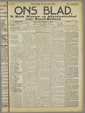 Ons Blad : katholiek nieuwsblad voor N-H 1916-01-27