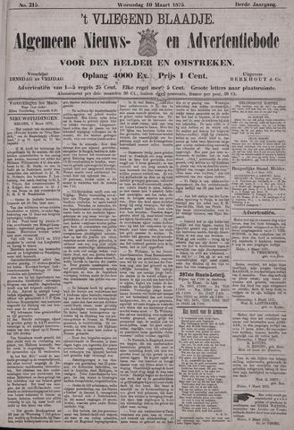 Vliegend blaadje : nieuws- en advertentiebode voor Den Helder 1875-03-10