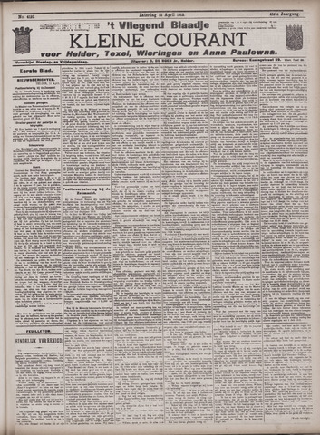 Vliegend blaadje : nieuws- en advertentiebode voor Den Helder 1913-04-12