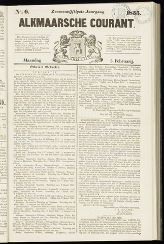Alkmaarsche Courant 1855-02-05