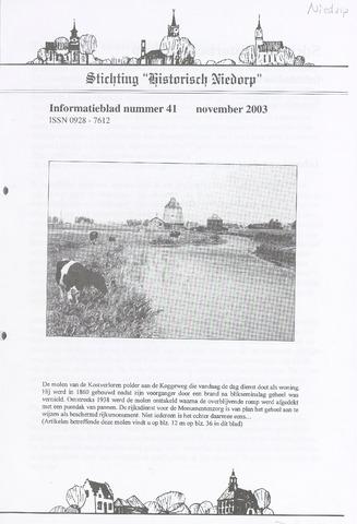 Informatieblad stichting Historisch Niedorp 2003-11-01