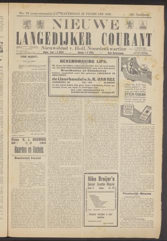 Nieuwe Langedijker Courant 1930-02-22