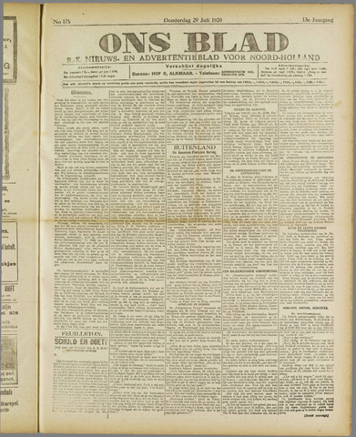 Ons Blad : katholiek nieuwsblad voor N-H 1920-07-29