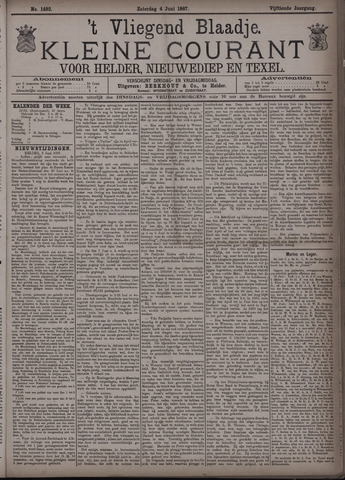 Vliegend blaadje : nieuws- en advertentiebode voor Den Helder 1887-06-04