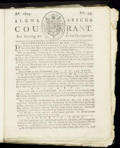Alkmaarsche Courant 1809-09-25