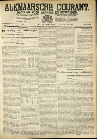 Alkmaarsche Courant 1933-04-27