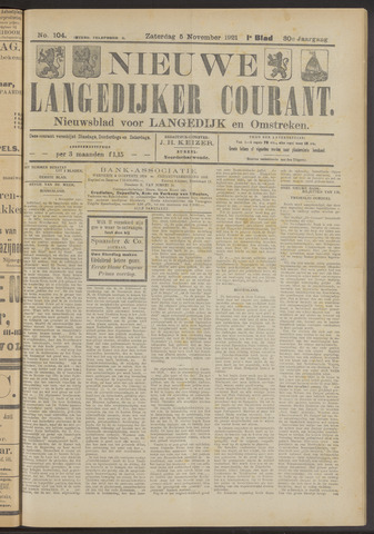 Nieuwe Langedijker Courant 1921-11-05