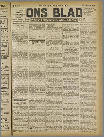 Ons Blad : katholiek nieuwsblad voor N-H 1917-08-09