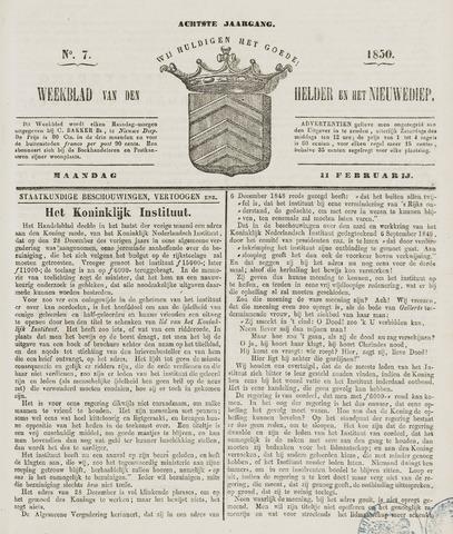Weekblad van Den Helder en het Nieuwediep 1850-02-11