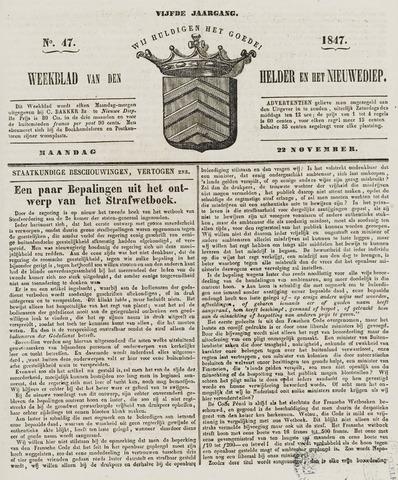 Weekblad van Den Helder en het Nieuwediep 1847-11-22