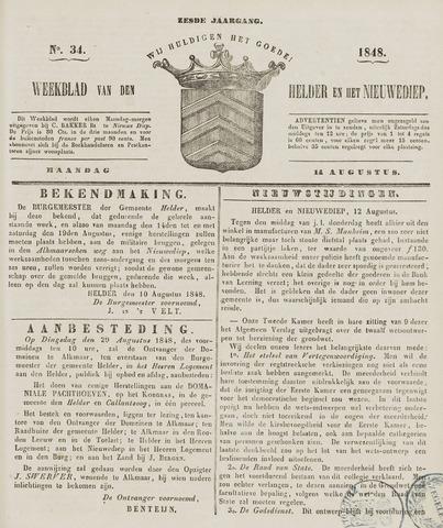 Weekblad van Den Helder en het Nieuwediep 1848-08-14