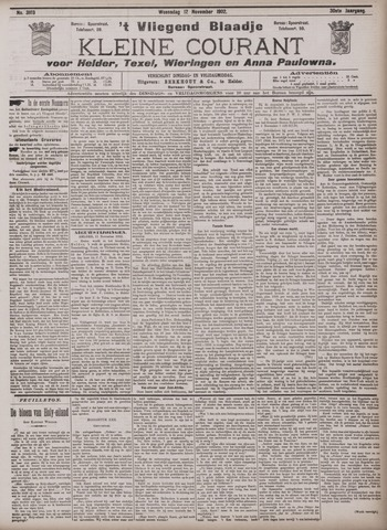 Vliegend blaadje : nieuws- en advertentiebode voor Den Helder 1902-11-12