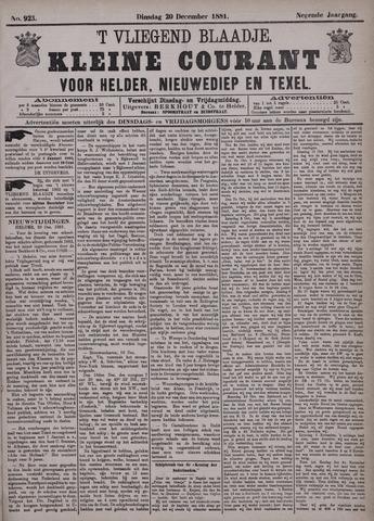 Vliegend blaadje : nieuws- en advertentiebode voor Den Helder 1881-12-20