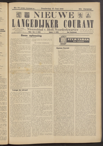 Nieuwe Langedijker Courant 1929-06-20