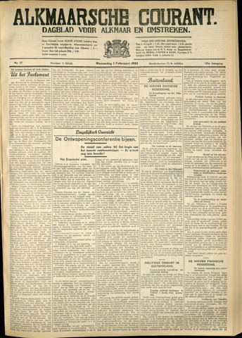 Alkmaarsche Courant 1933-02-01
