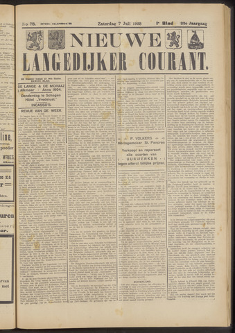 Nieuwe Langedijker Courant 1923-07-07