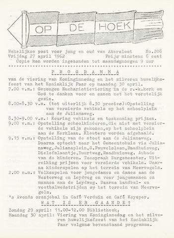 Op De Hoek, weekblad voor Akersloot 1962-04-27