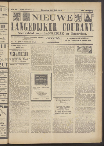 Nieuwe Langedijker Courant 1925-05-30