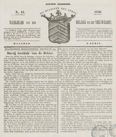 Weekblad van Den Helder en het Nieuwediep 1850-04-08