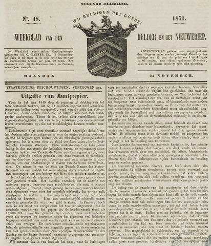 Weekblad van Den Helder en het Nieuwediep 1851-11-24