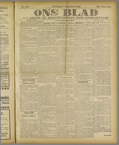 Ons Blad : katholiek nieuwsblad voor N-H 1919-08-05