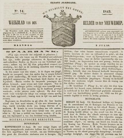 Weekblad van Den Helder en het Nieuwediep 1843-07-03