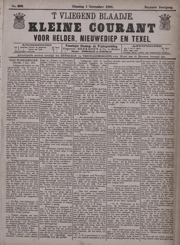 Vliegend blaadje : nieuws- en advertentiebode voor Den Helder 1881-11-01