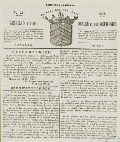 Weekblad van Den Helder en het Nieuwediep 1855-05-28