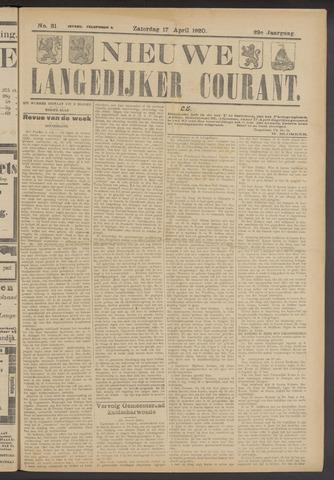 Nieuwe Langedijker Courant 1920-04-17