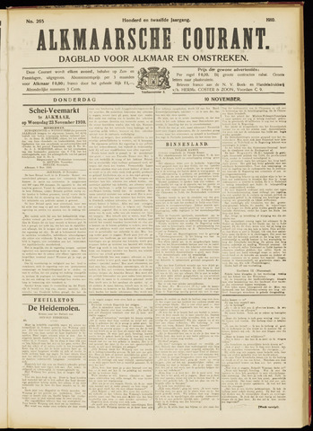 Alkmaarsche Courant 1910-11-10