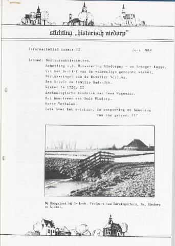 Informatieblad stichting Historisch Niedorp 1989
