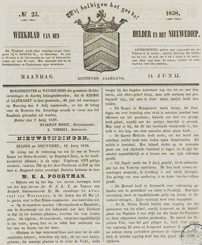 Weekblad van Den Helder en het Nieuwediep 1858-06-14