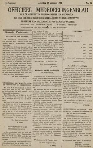 Mededeelingenblad Wieringermeer en Wieringen 1943-01-16