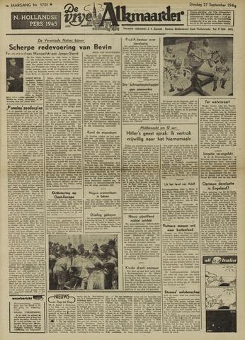 De Vrije Alkmaarder 1949-09-27
