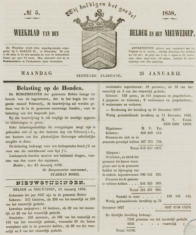 Weekblad van Den Helder en het Nieuwediep 1858-01-25