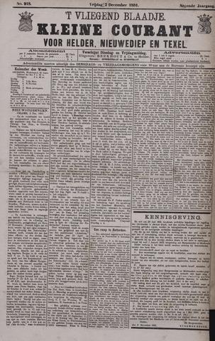 Vliegend blaadje : nieuws- en advertentiebode voor Den Helder 1881-12-02