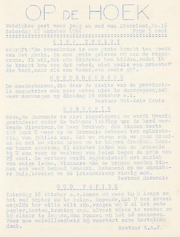 Op De Hoek, weekblad voor Akersloot 1954-10-16