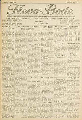 Flevo-bode: nieuwsblad voor Wieringen-Wieringermeer 1948-02-21