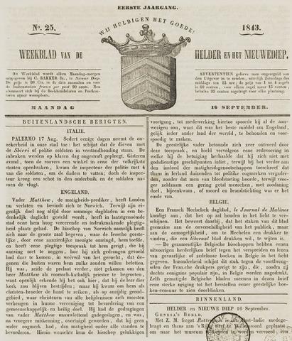 Weekblad van Den Helder en het Nieuwediep 1843-09-18
