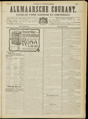 Alkmaarsche Courant 1912-01-22