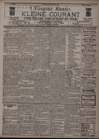 Vliegend blaadje : nieuws- en advertentiebode voor Den Helder 1895-11-27