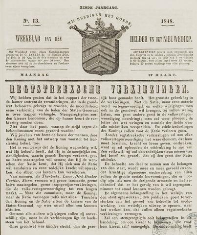 Weekblad van Den Helder en het Nieuwediep 1848-03-27